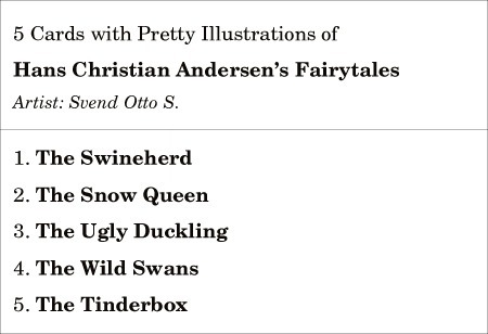 5 Pretty Cards w/ Hans Christian Andersen's Fairytales