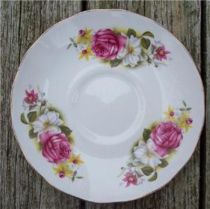 Old Queen Anne Bone China Saucer Pink Rose #QA2001