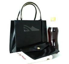 Auth Salvatore Ferragamo Logo Black PVC Leather Mini Tote Hand Bag Purse... - $177.21