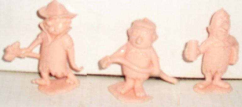 Vintage FLINTSTONES Plastic figures 3 Bedrock Workers