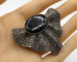 925 Sterling Silver - Vintage Art Deco Onyx & Marcasite Brooch Pin - BP1542 - $85.40