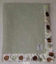 Little Giraffe Green Brown Polka Dot Baby Security Blanket Lovey SOFT Satin Trim - $27.67