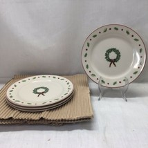 Merry Brite Rimmed Salad Plates Set of 4 Wreath Holly Berries Christmas ... - $14.84