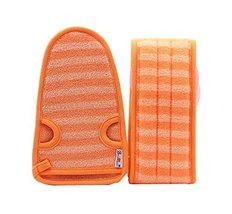 2 Of Soft Bath Mitts Exfoliating Gloves Bath Belts for Female, ORANGE