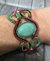 Turquoise Beaded Bracelet Silver Plated Metal Crystals Beads Woman Jewelry - $15.99