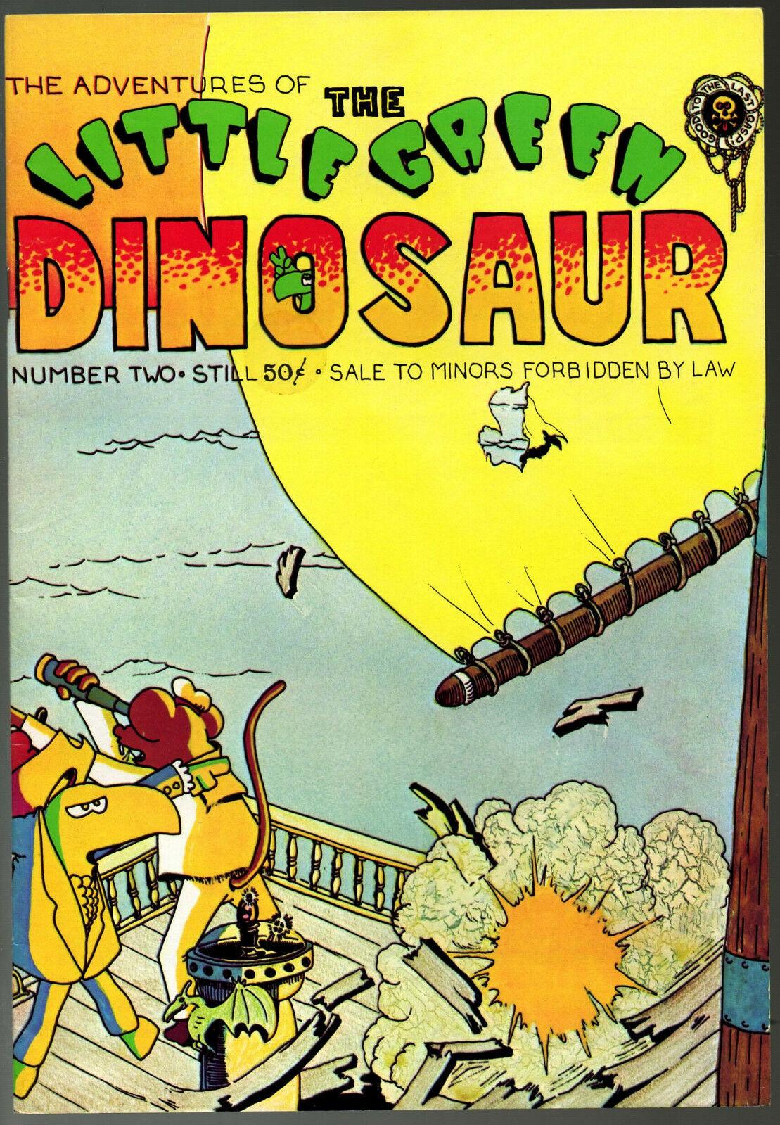 Little Green Dinosaur #1 & 2, Last Gasp, 1972-3  vintage Underground Comix.  - o