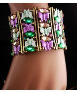 """Blinged out butterfly Bracelet - BIG 2"""" vintage enamel cuff - green purple rhine - $75.00"""