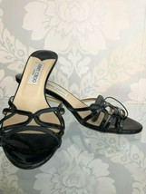 JIMMY CHOO Black Patent Leather Slide Sandal Heels Sz 39 $600 - $204.83