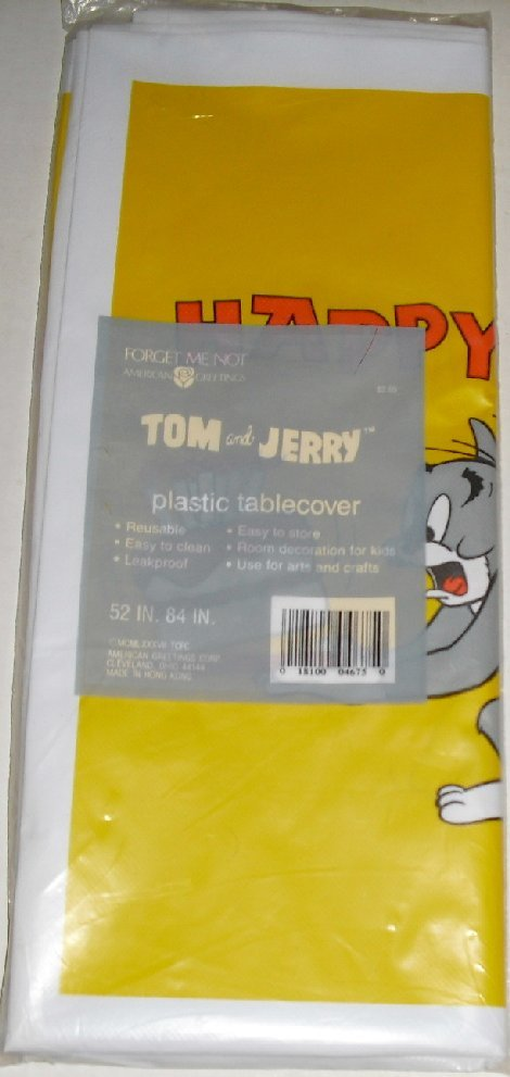 Vtg 1986 TOM & JERRY Party plastic Tablecover MIP