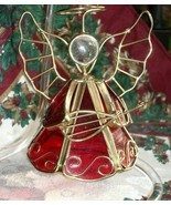 Beautiful GOLD WIRE and RED GLASS ANGEL with MANDOLIN Christmas Ornament... - $2.49