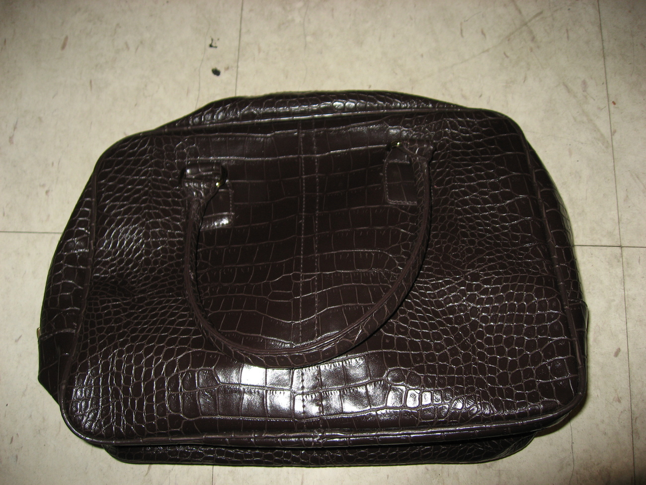 Estee lauder faux alligator handbag brown