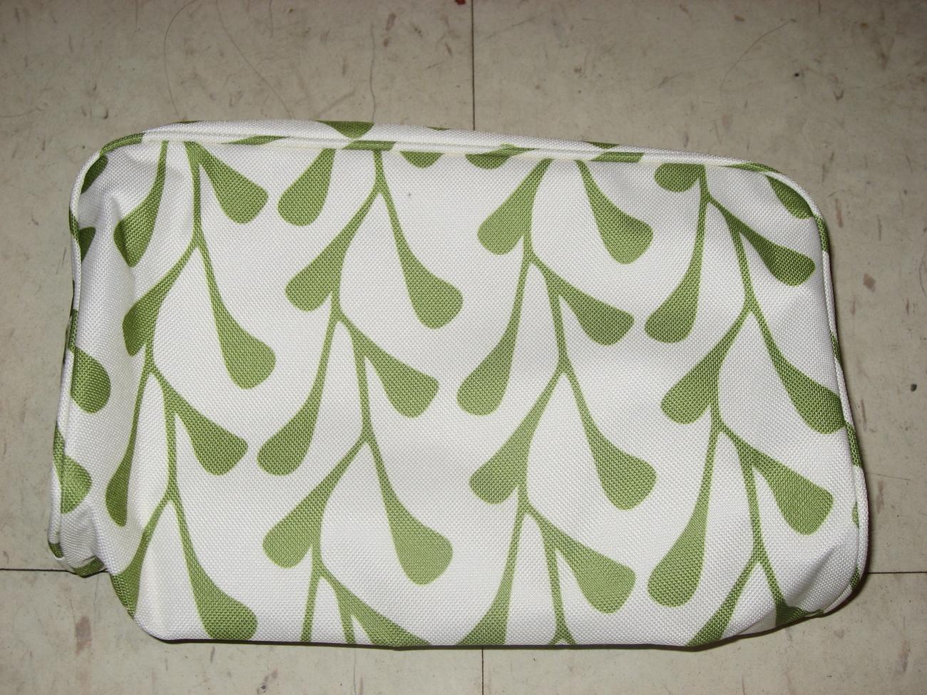 Clinique white green floral travel bag