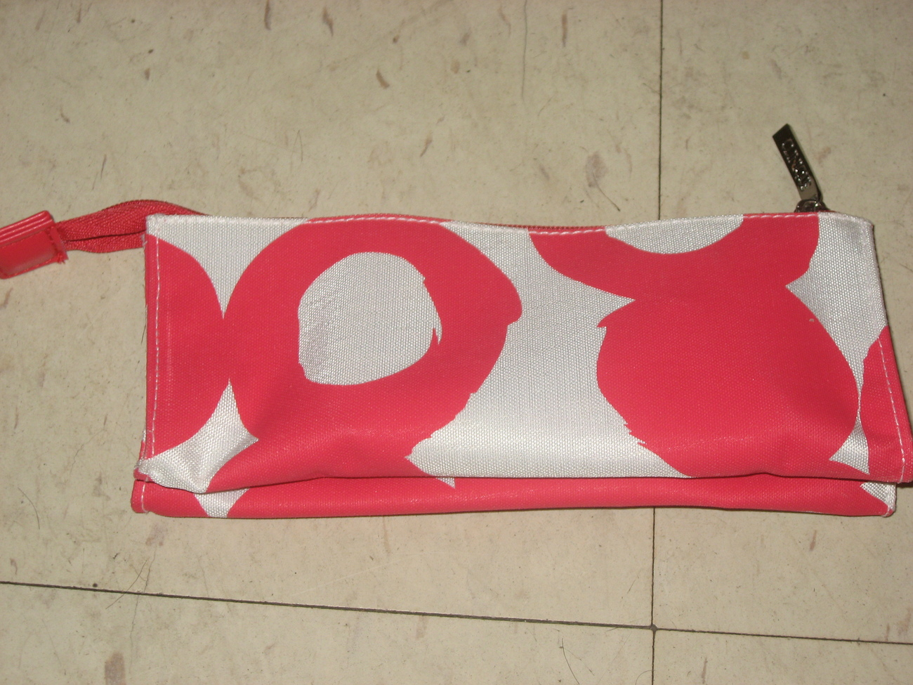 Clinique red white makeup bag