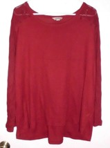 LUCKY BRAND Shirt Top Plus Sz 3X Women's Maroon Long Sleeve Semi Sheer T... - $19.79