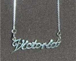 Sterling Silver Name Necklace - Name Plate - VICTORIA - $54.00