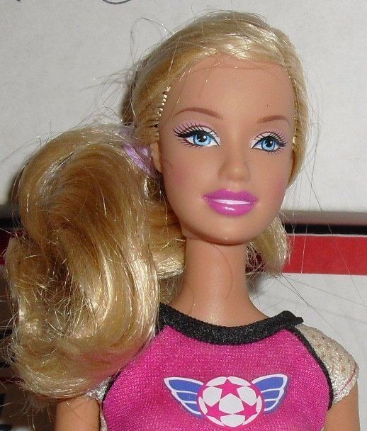 BARBIE Doll blonde hair dressed SOCCER player