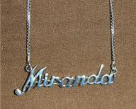 Sterling Silver Name Necklace - Name Plate - MIRANDA