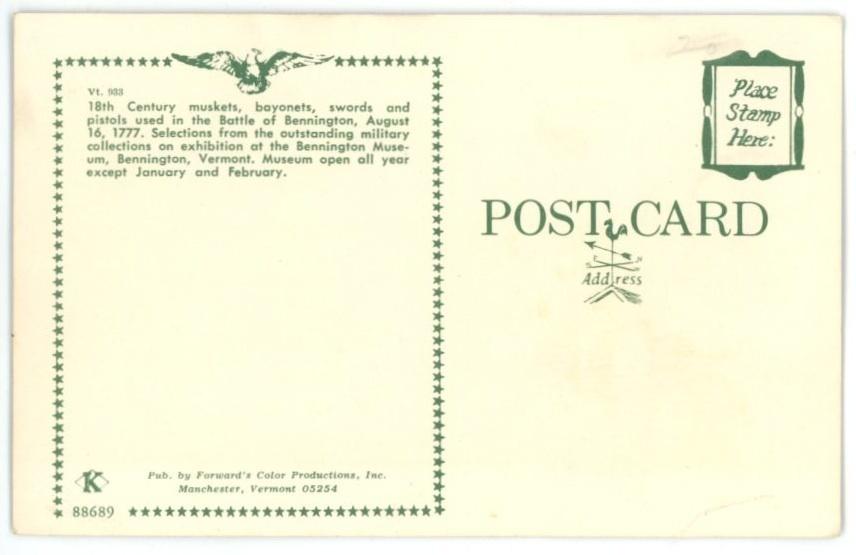muskets swords pistol vintage postcard Battle Bennington 18th Ct military