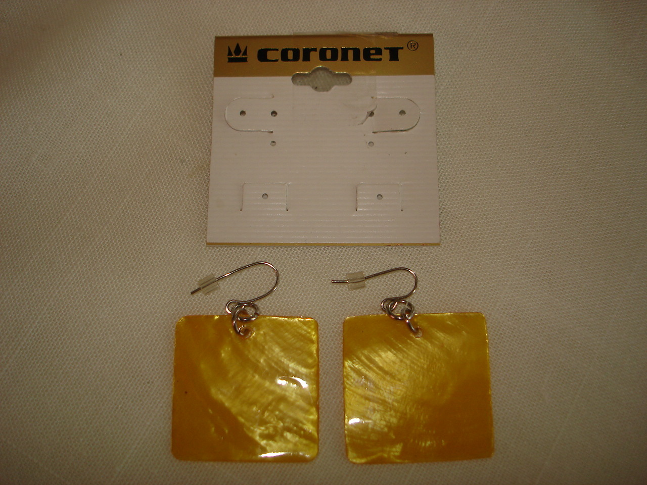 Vintage Coronet Yellow Glass Squares Pierced Earrings