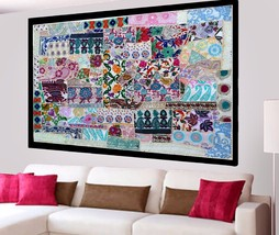 White Vintage Wall Tapestry Hand Embroidered Cotton Patchwork Hanging Ho... - $1.134,06 MXN