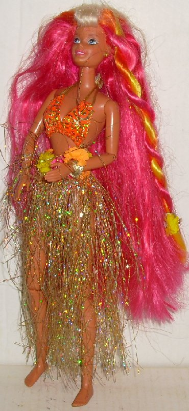 BARBIE Hula Doll long multi color hair jointed limbs