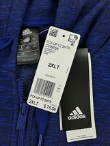 new ADIDAS men jacket hoodie full zip CW9658 blue 2XL MSRP $75 image 4