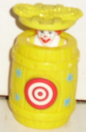 McDonalds McD RONALD in barrel wind-up Happy Meal toy