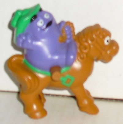 """McD MCDONALD Rodeo GRIMACE wind-up horse toy 2.5"""""""