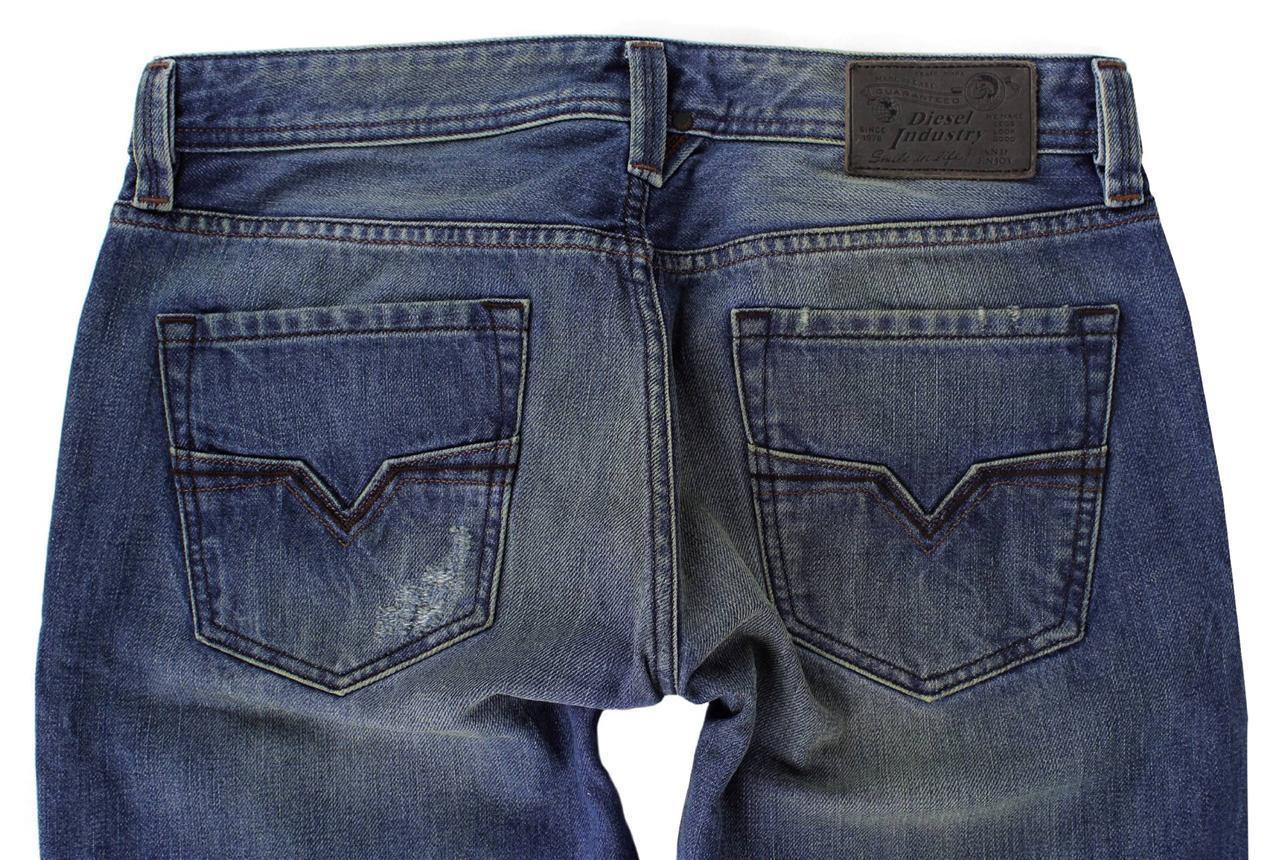 DIESEL MEN'S DESIGNER DENIM REGULAR SLIM STRAIGHT JEANS LARKEE 00751 Size 30x30