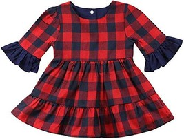 2019 Baby Girl Puff Long Sleeve Tops Plaids Dresses Skirts (5T - 6T|Red) - $9.08
