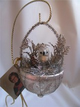 OWL in Nest  Christmas Ornament  Mercury Glass Tinsel Silver White - $19.75