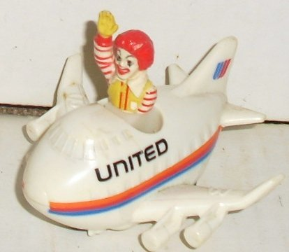 McDonalds McD Ronald in UNITED plane Happy Meal Toy