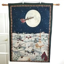 Christmas Tapestry Wall Hanging With Lights And To All A Good Night Sant... - $54.44