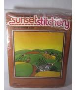 Sunset Stitchery Kit QUILTED SUMMER SCENE Retro Colors SEALED 1980 Vintage - $14.84