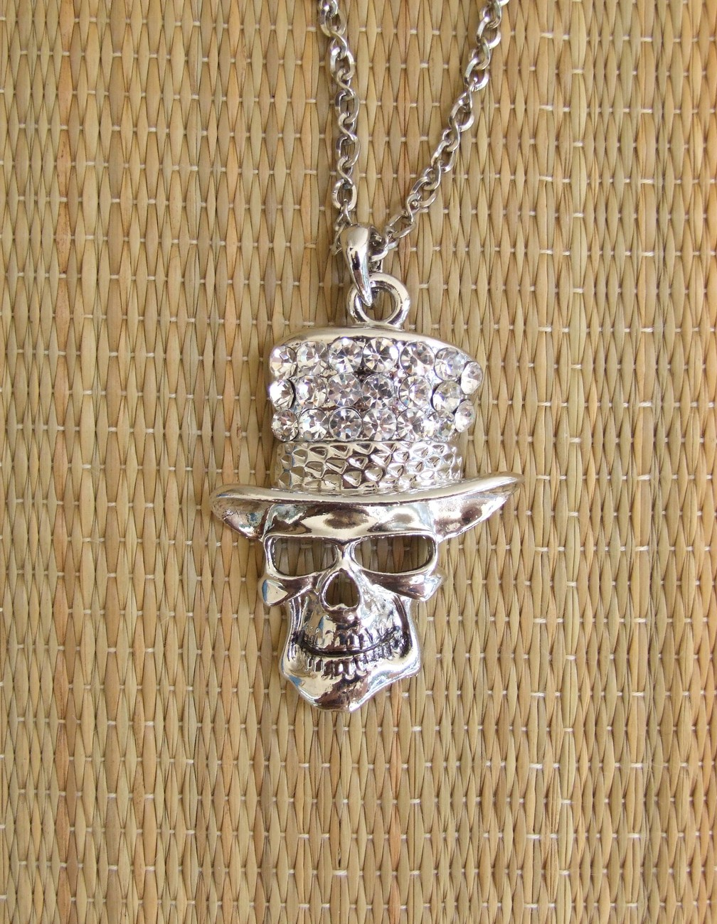 Large Skull With Top Hat Crystal Necklace