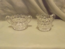 Vintage Cube Pattern Pressed Glass/Fostoria Cream and Sugar Set - $4.99