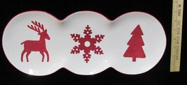 Platter Tray Plate Christmas Theme Red & White Reindeer Tree Snowflake S... - $12.86