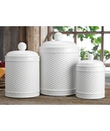 Set Of 3 White Round Basket Weave Embossed Canisters GB - $83.55