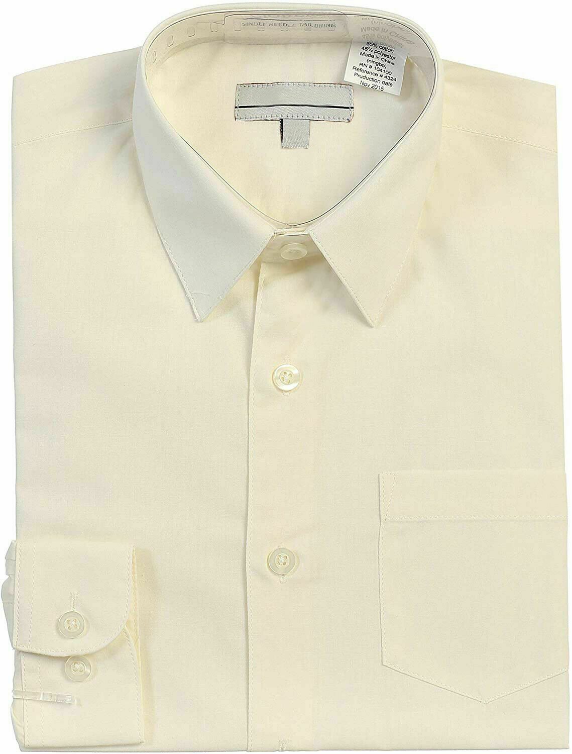 Boy's Classic Fit Long Sleeve Button Down Kids Off White Dress Shirt - Size 6