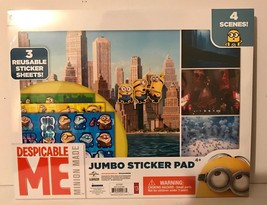 Despicable Me Minion Made JUMBO STICKER PAD - 3 Reusable Sticker Sheets-... - $4.94