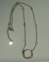 Signed Nine West Silver-tone Pink Rhinestone Pendant Necklace  - $16.82