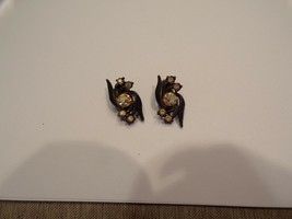 Vintage Early Clip on Earrings With Rhinestones - $10.00