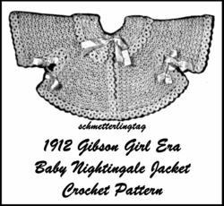 1912 Gibson Girl Baby Nightingale Jacket Titanic Era Reenactment Crocheted Garb