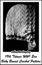 1916 Titanic WWI Baby Bonnet Crochet Pattern Baptism Christening Shower Gifts - $5.99