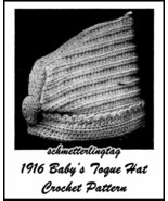 1916 Titanic WWI Baby Toque Hat Crochet Pattern Baptism Christening Show... - $5.99