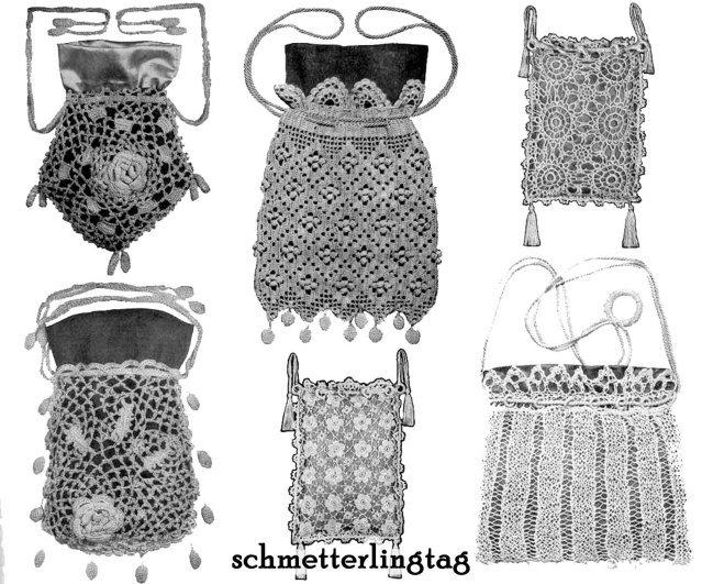 Irish Crochet Book Purse Patterns WWI Titanic Bags 1912 Reenact Purses Ireland 2
