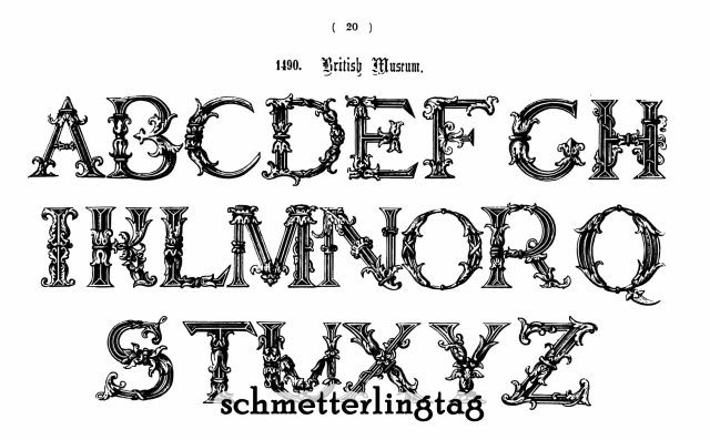 Victorian Alphabet Book Ancient Initials Monograms 1858 Reenactment Caligraphy