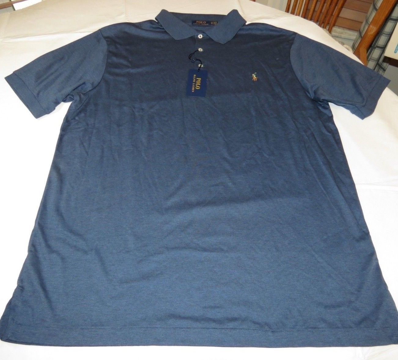 Mens Polo Ralph Lauren short sleeve polo short 2XLT Navy Heather 480007 NWT