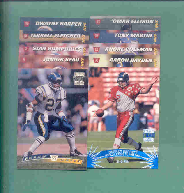 1996 Stadium Club San Diego Chargers Football Team Set