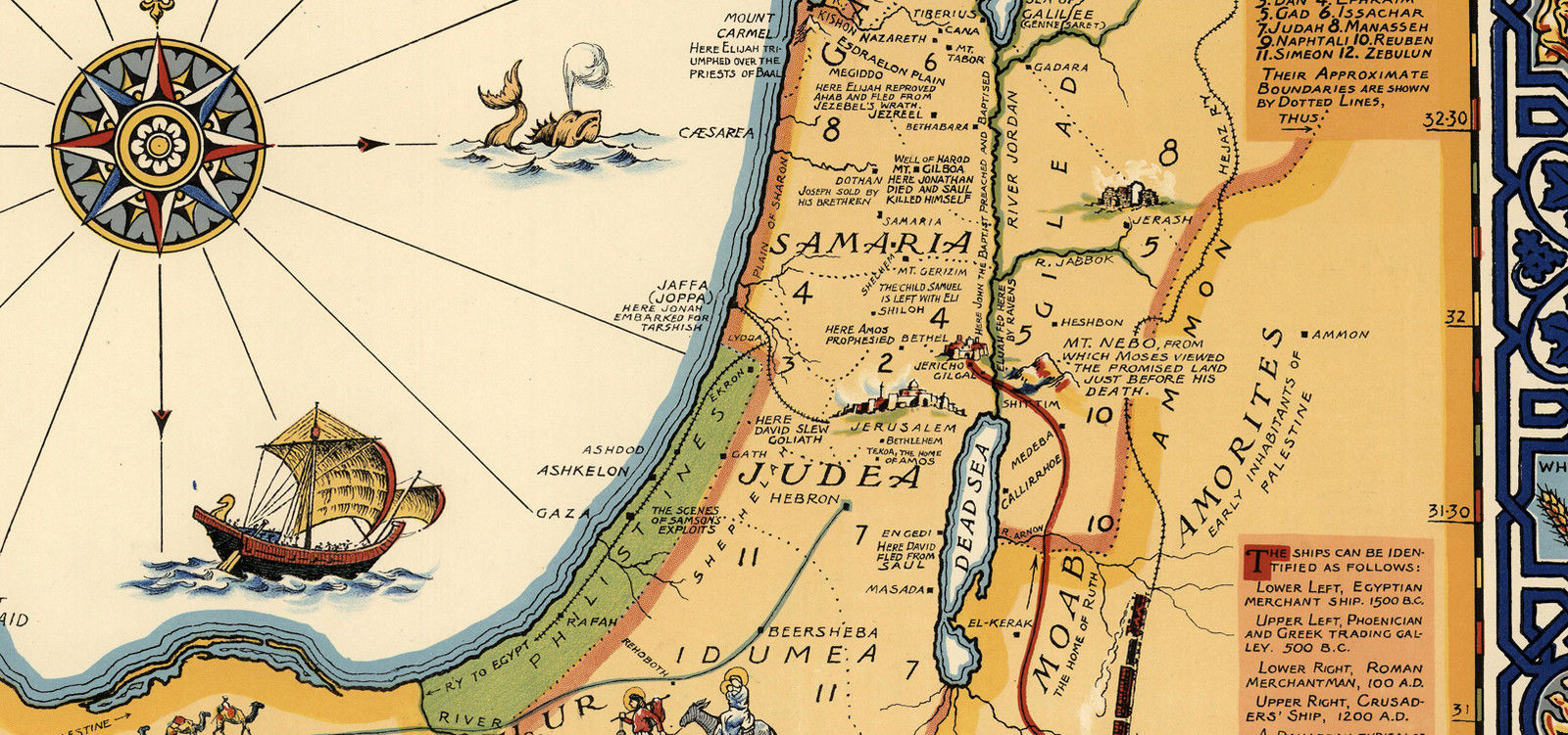 1928 Pictorial Map Holy Land Palestine and similar items